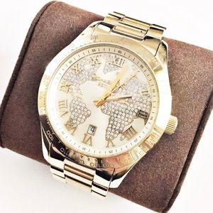 Michael Kors Layton gold crystal map watch